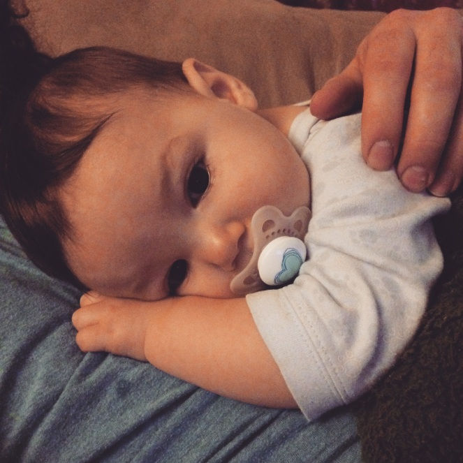 Snuggles with Daddy are the best medicine when I don't feel well.